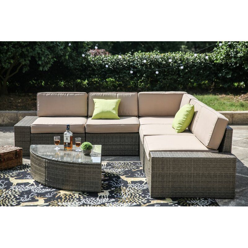 Pierceton 6 Piece Rattan Sectional Seating Group With Cushions Reviews Joss Main In 2020 Outdoor Sofa Sets Wicker Outdoor Sectional Patio Sectional