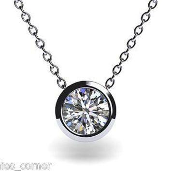 Created diamond bezel set solitaire pendant necklace jewlery created diamond bezel set solitaire pendant necklace mozeypictures Image collections
