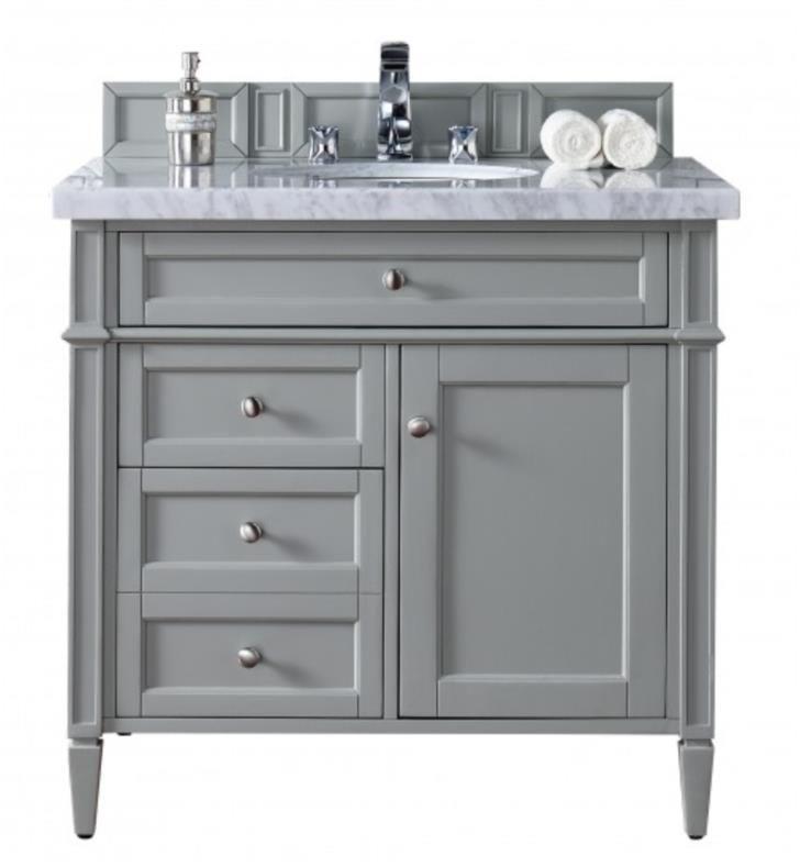 James Martin 650 V36 Ugr 4car Brittany 36 Single Bathroom Vanity In Urban Gray Finish With Countertop Si Bathroom Vanity 36 Inch Vanity Grey Bathroom Vanity