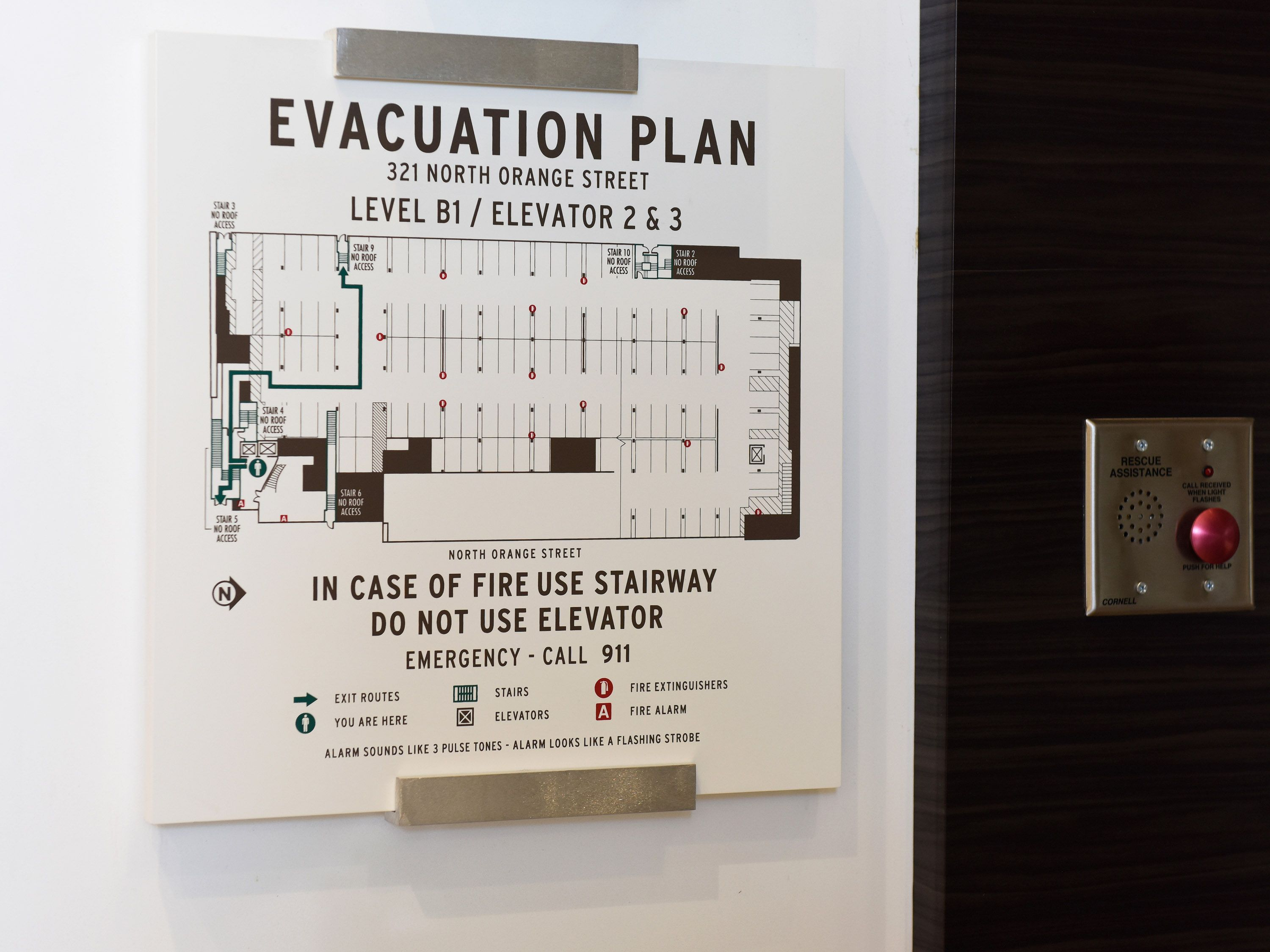 Evacuation Plan Plaque Mixed Media Brushed Aluminum And Plexi