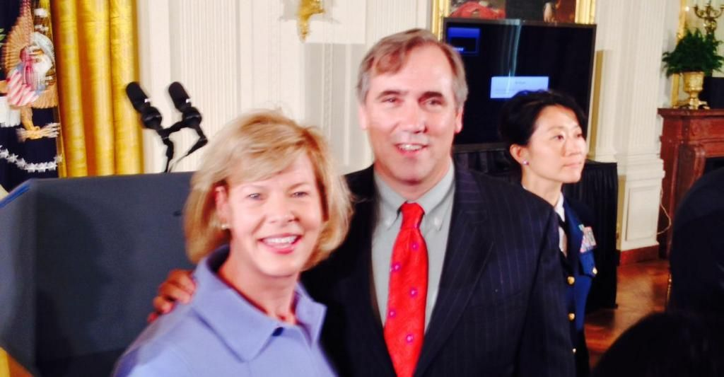 Senator Jeff Merkley joined Senator Tammy Baldwin, on 07/21/14, at the White House Executive. Order signing ending LGBT discrimination for federal contractors.
