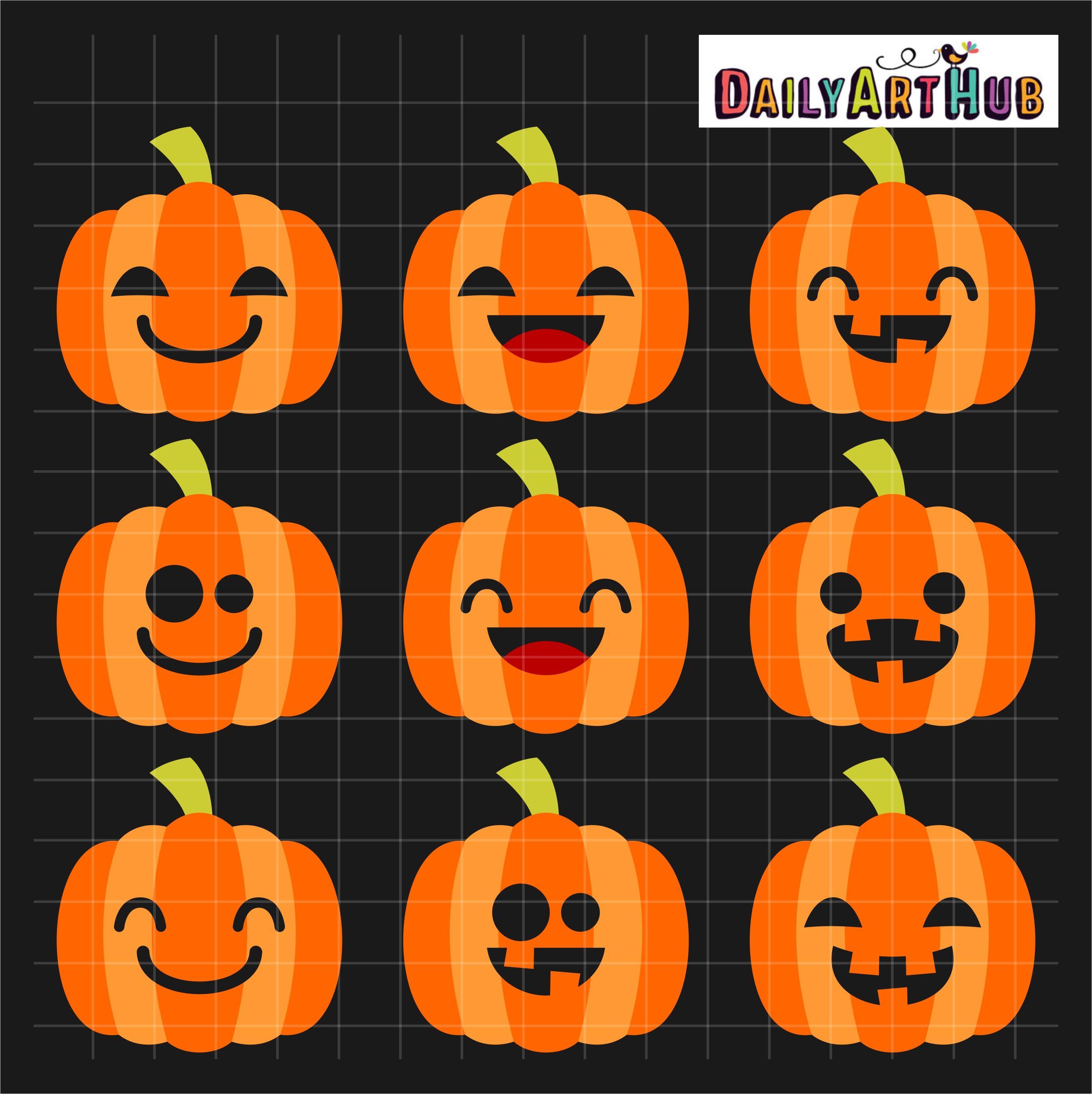Halloween Cute Jack O Lanterns Clip Art Set
