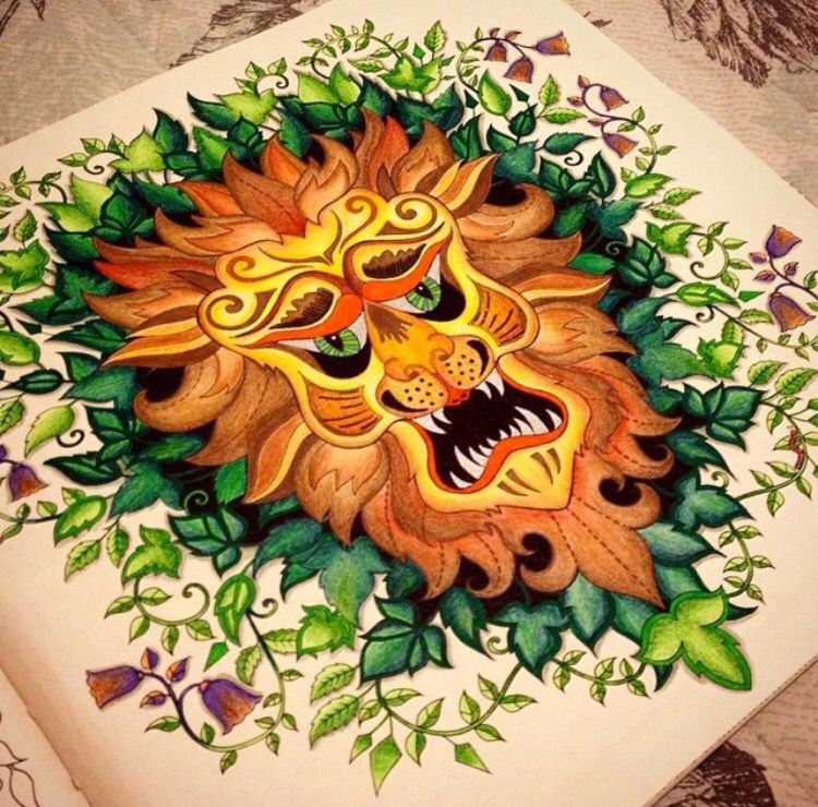 Lion Enchanted Forest Leao Floresta Encantada Johanna Basford Coloring BooksColouringAdult