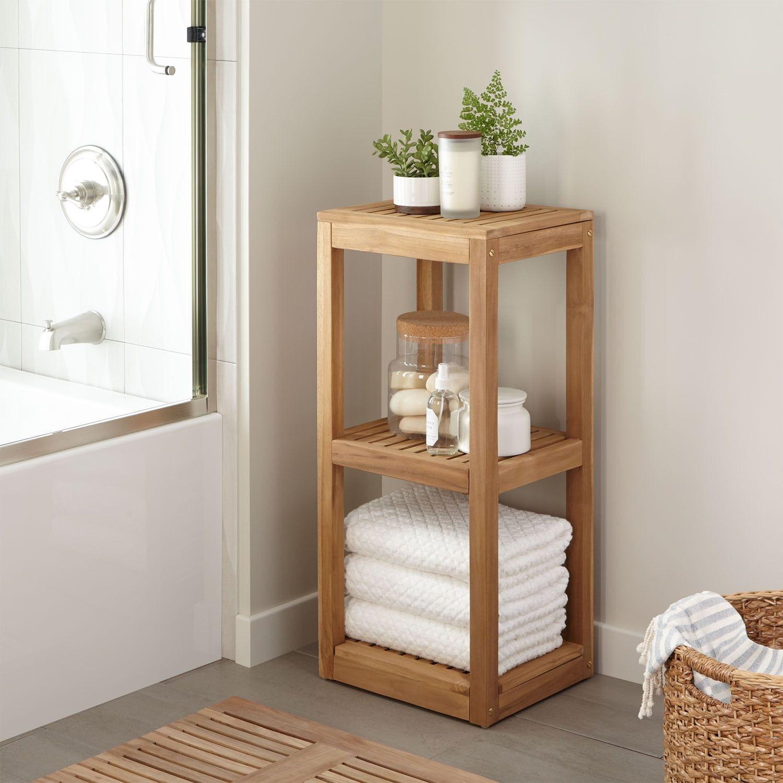 Both Attractive And Practical The Three Tier Teak Wood Towel Shelf Is Perfect For Organizing Toiletri Teak Bathroom Shelf Bathroom Towel Storage Teak Bathroom