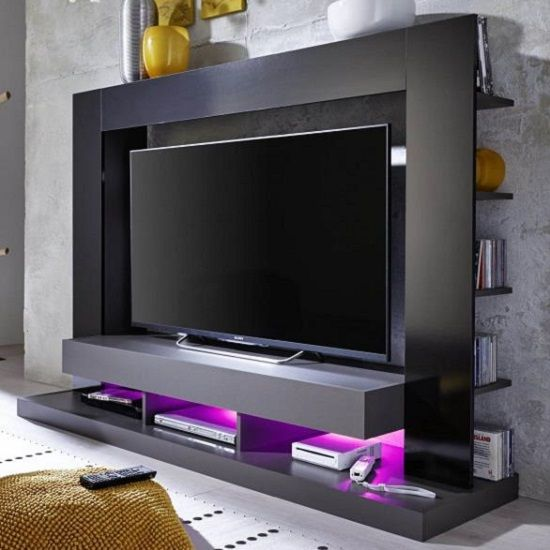 Stamford Entertainment Unit In Black Gloss Fronts With ...