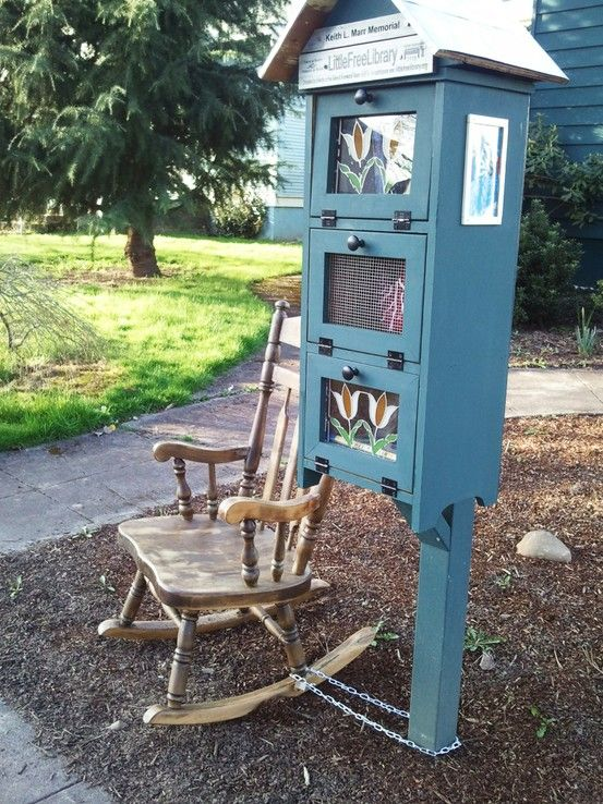 Little Free Library With Attached Rocking Chair In Southeast Portland,  Oregon