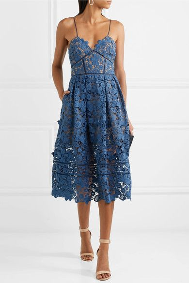 8d3b4ad7ac08 Blue guipure lace Zip fastening along back 100% polyester; lining: 87%  polyester, 13% elastane Dry clean Designer color: Slate Blue Imported