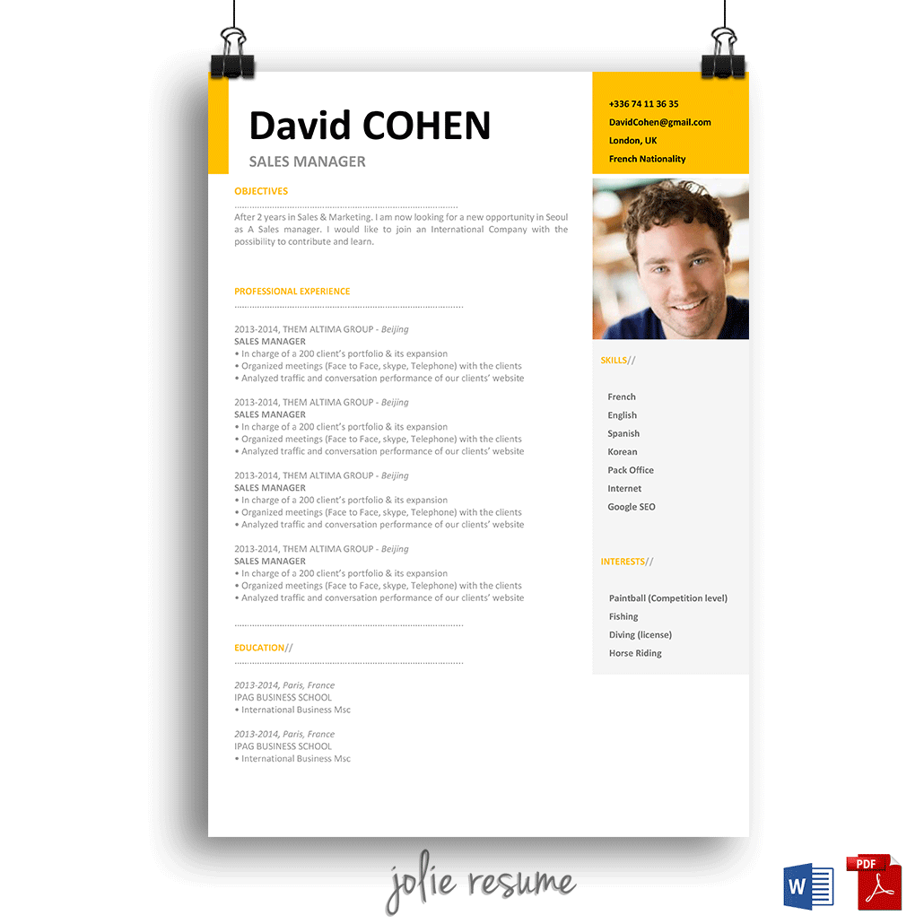 Resume Template David  Ms Word  Easy To Edit  Instant