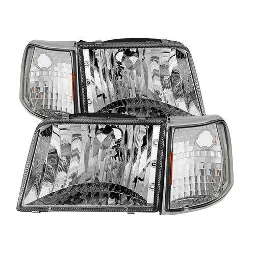 4pc 1993 1994 1995 1996 1997 Ford Ranger Headlights Corner Signal Light Headlamps Replacement 93 94 95 96 97 Silver Ford Ranger Ranger Headlights