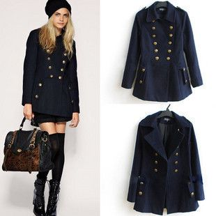 Navy Wool Pea Coat Womens