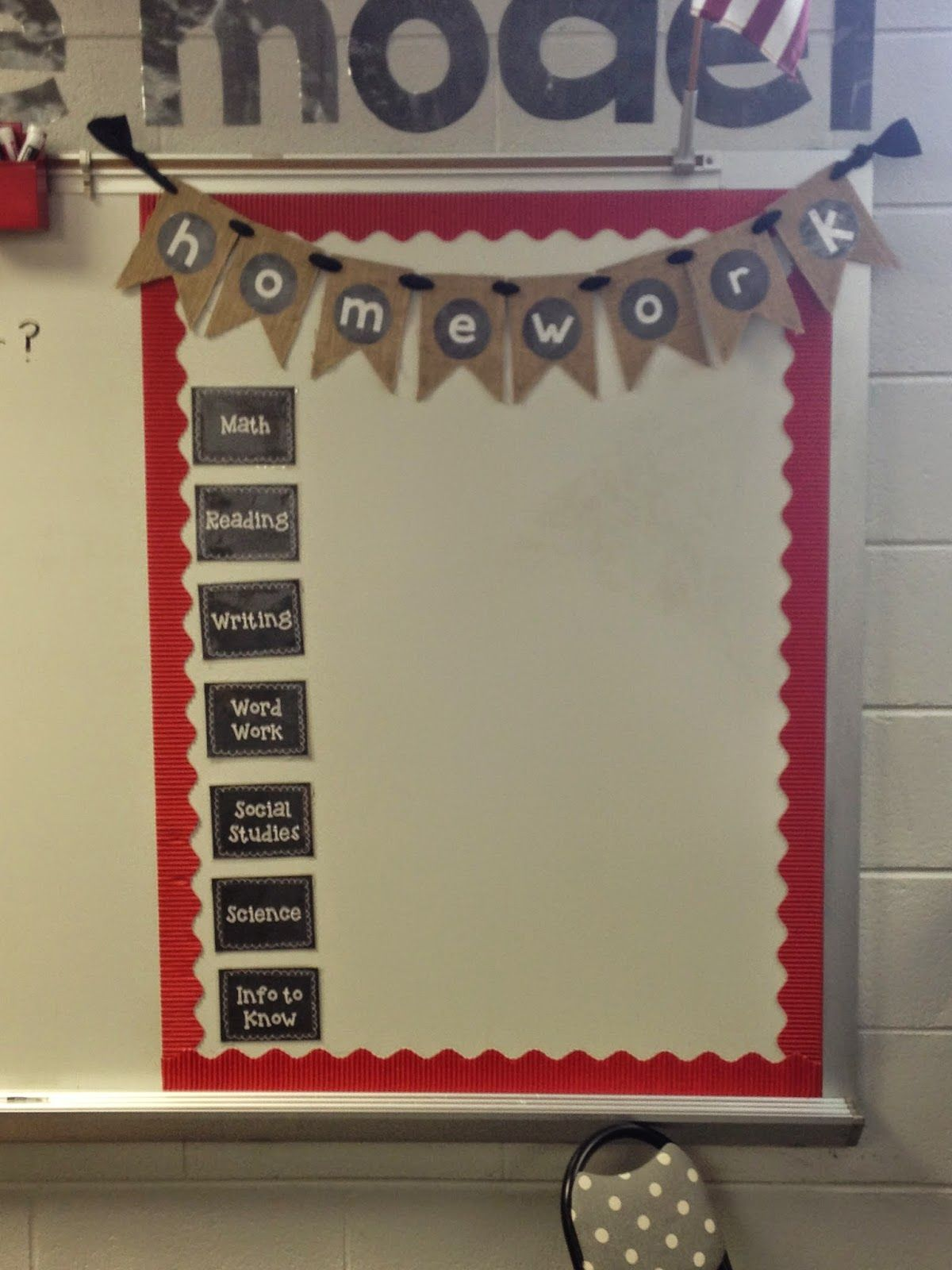 Jr High Classroom Decorating Ideas ~ Cute homework board with burlap banner bulletin boards