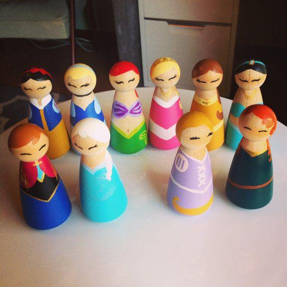 Disney Inspired Princess Wooden Peg Dolls By Disarraybydesign