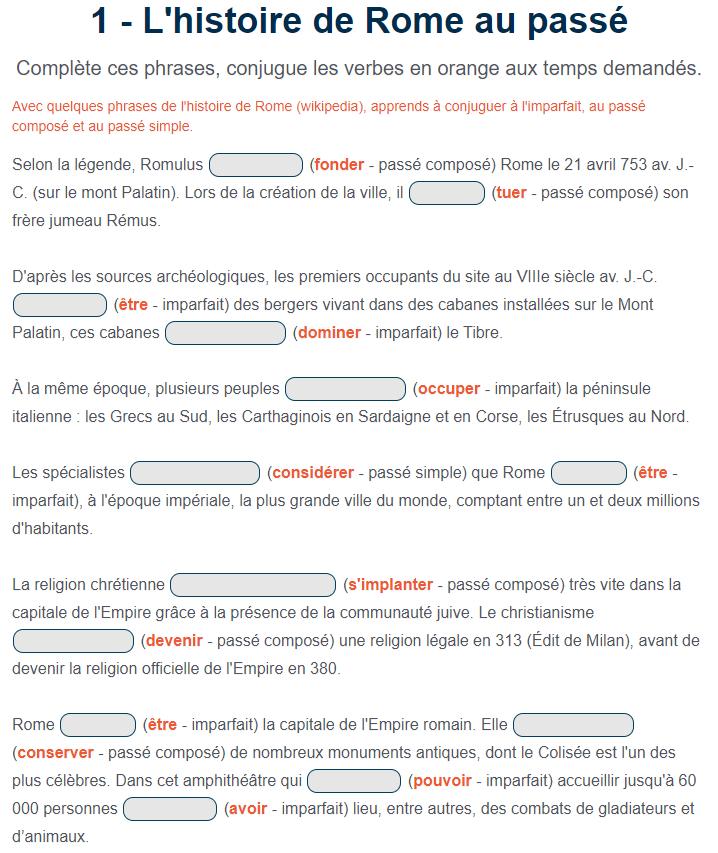 Exercice De Francais L Histoire De Rome Au Passe Passe Simple Francais Passe Compose Exercices Passe Compose