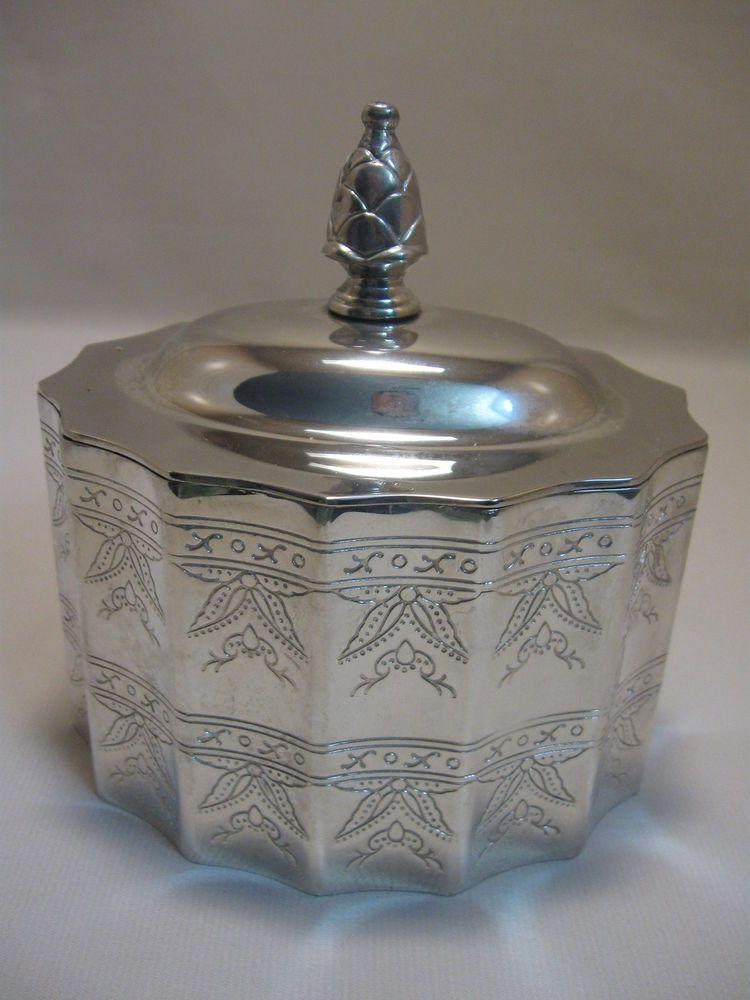 Godinger Silver Co Trinket Jewelry Box Red Velvet Inside Leaf Designs 1991 #GodingerSilverCo $14.99