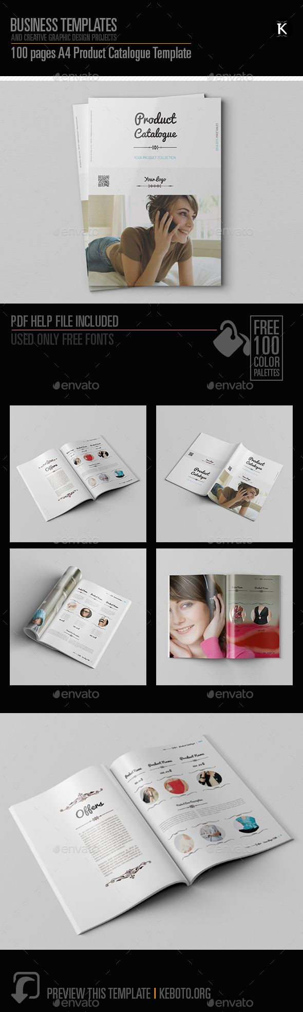 100 Pages A4 Product Catalogue Template | Pinterest