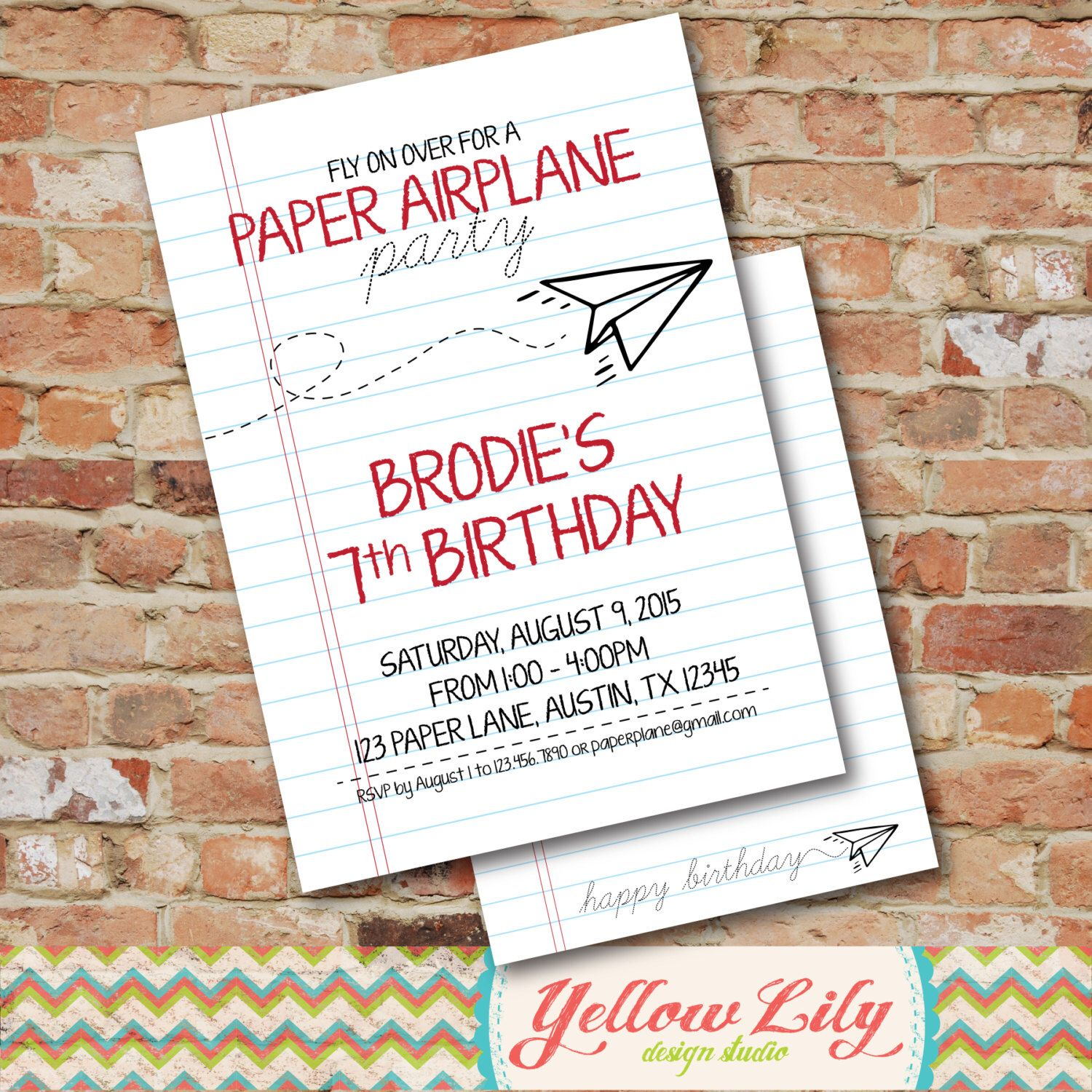 Paper Airplane Birthday Party Invitation - All The Best Invitation ...