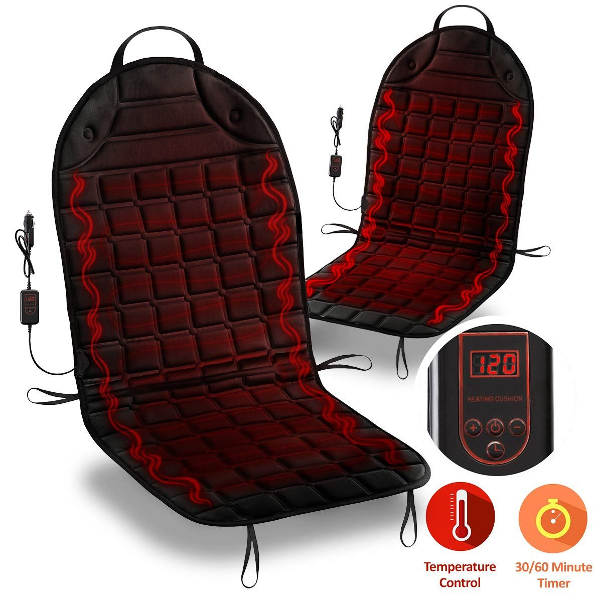 Zone Tech Car Heated Seat Cover Cushion Hot Warmer Fireproof New