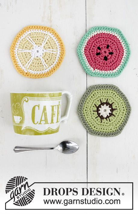 Breakfast Slices / DROPS Extra 0-1385 - Crocheted coasters with ...