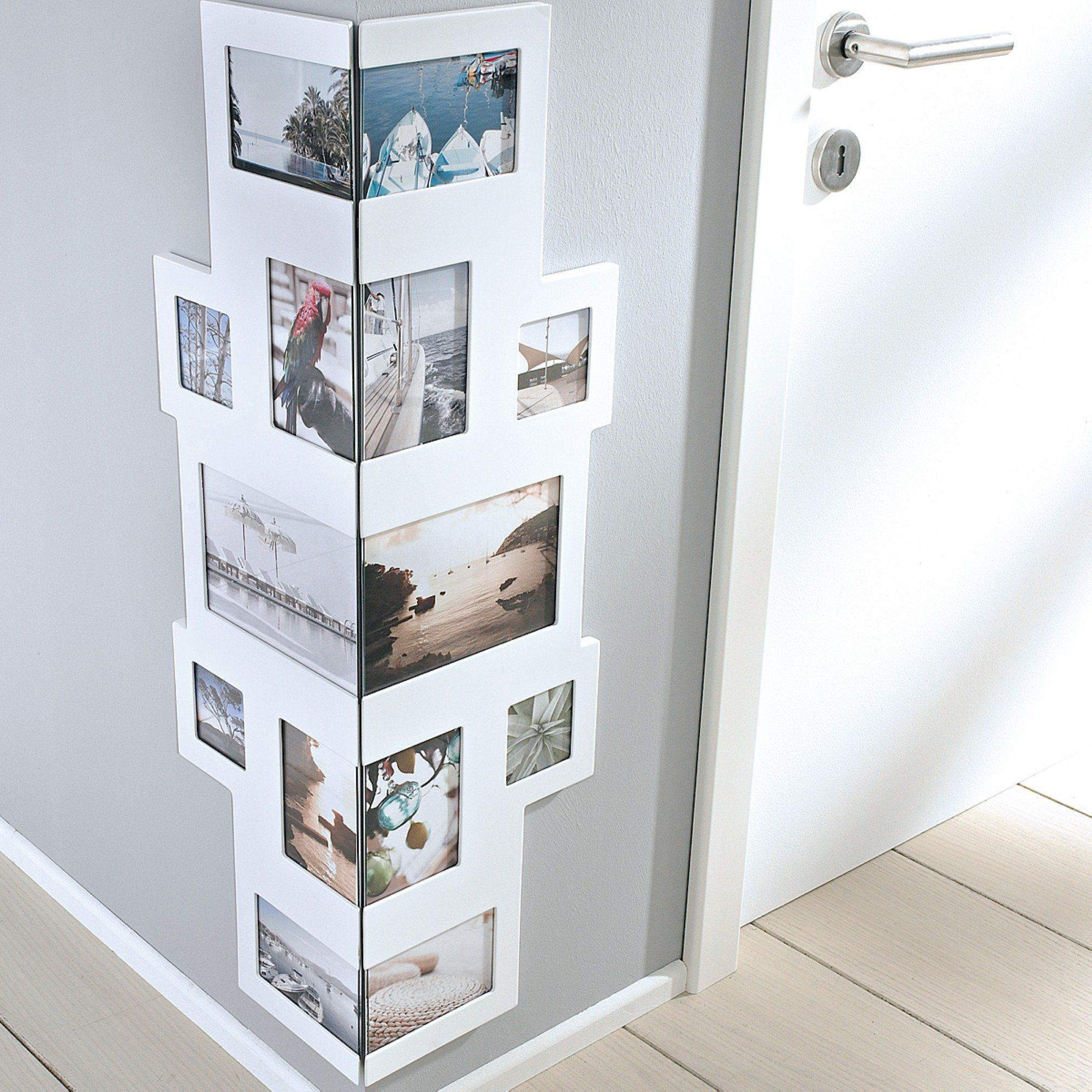 bilderrahmen collage f r ecken f r 14 fotos mdf holz. Black Bedroom Furniture Sets. Home Design Ideas