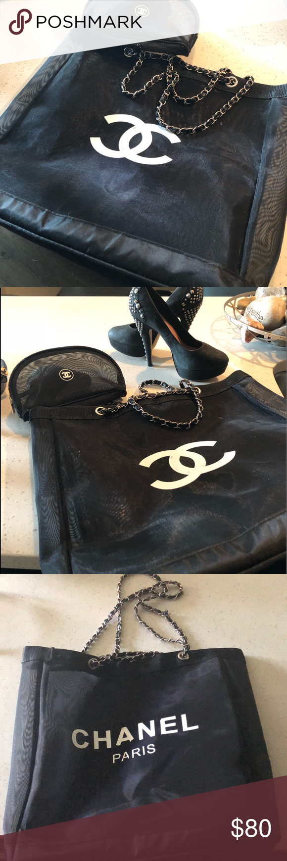 Chanel Canvas Tote chain handle and new makeup bag Black