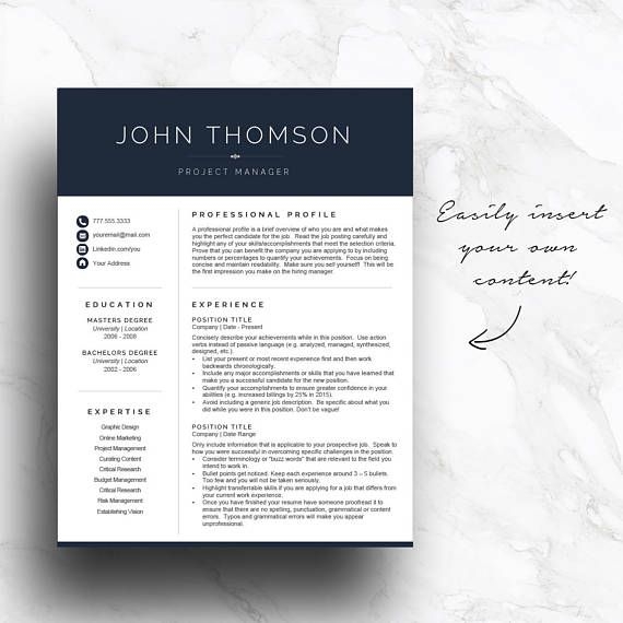 Navy Blue Resume Template For Word And Pages Get A Head Start On