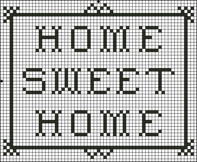 Free Home Sweet Home Saying Counted Cross Stitch Pattern