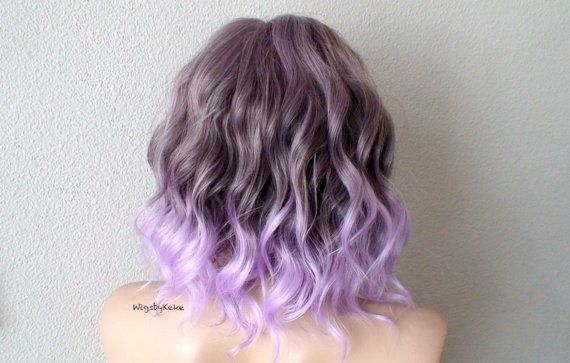 Ombre Wig Pastel Wig Pastel Lavender Ombre Wig Short Beach Etsy Curly Hair Styles Light Purple Hair Purple Hair