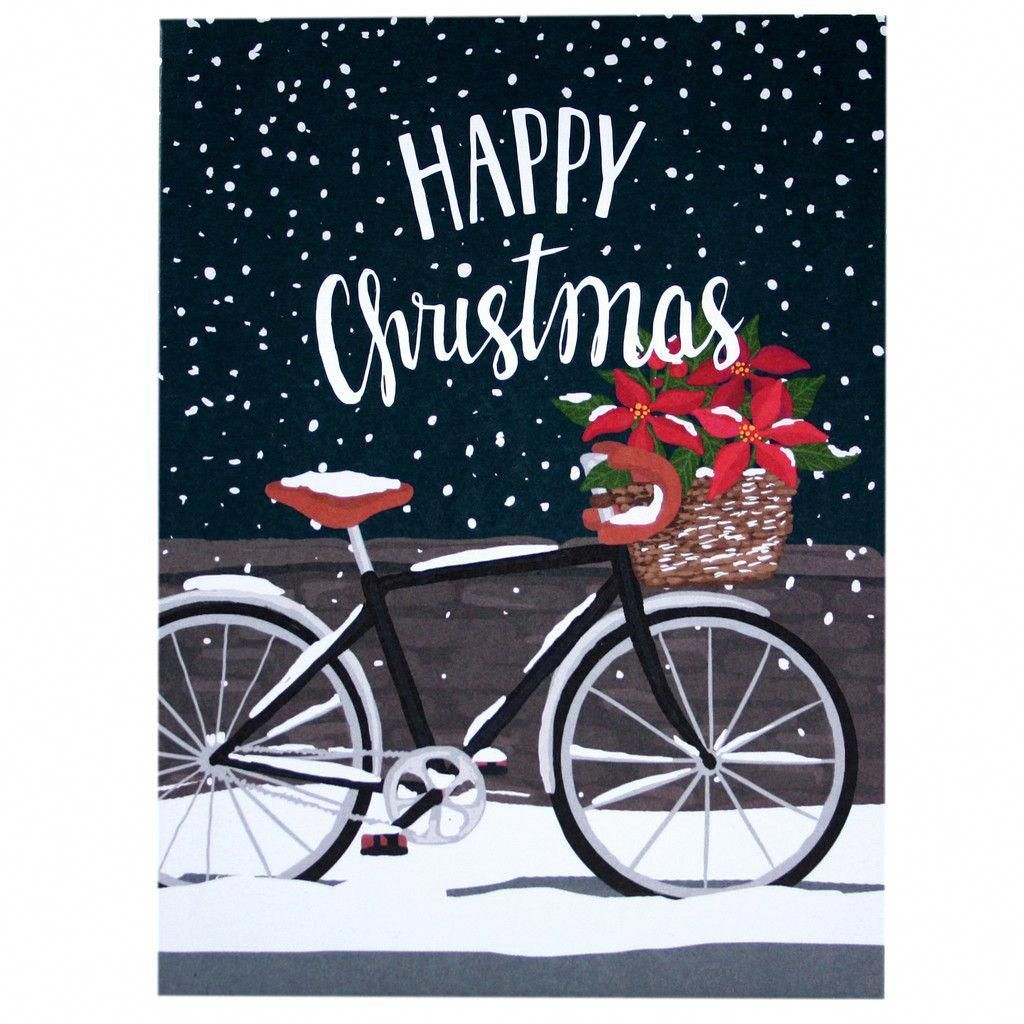 Poinsettia Bicycle Christmas Card  Merry Christmas Cards  Smudge Ink