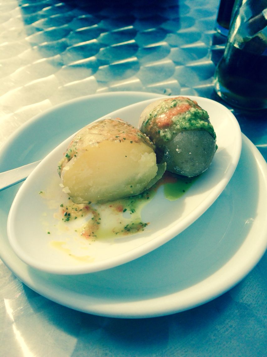 Canaries potatoes, boiled potatoes with garlic, olive oil and red mojo. Delicious!!
