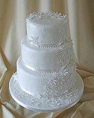 White Fondant And Snowflake Lace Like Detail Wedding Cake Wonderful For A Winter Wonderland Affair