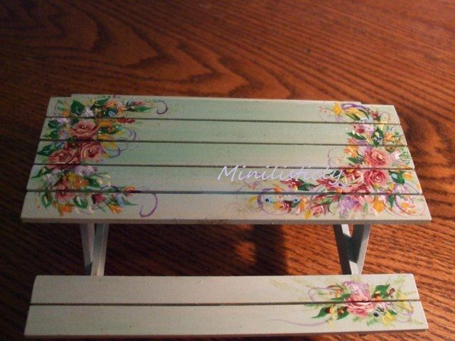 Delightful Miniature 1 /12th Scale Picnic Table Artisian Made. Painted By Joyce  Dorothy Hamill/