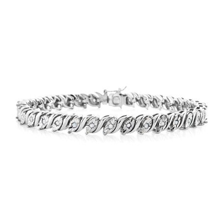 1 2 Carat Diamond Tennis Bracelet In Sterling Silver 7 5 Tennis Bracelet Diamond Bracelets Sterling Silver Bracelets