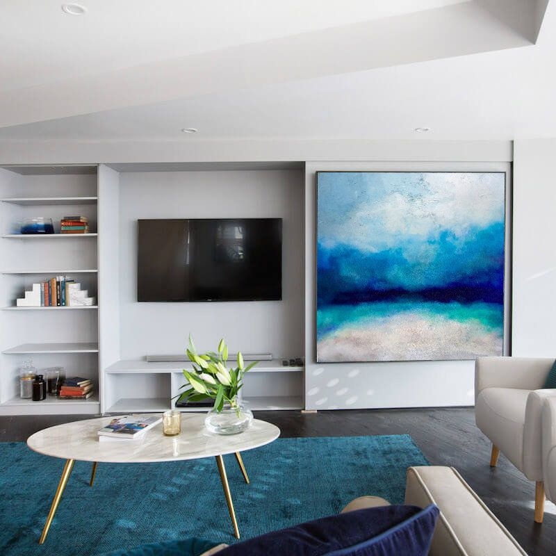Large Ocean Canvas Oil Painting Original Turquoise Sea And Blue Sky Landscape Painting Sky Landscape Oil Painting Large Wall Sea Painting In 2020 Living Room Designs Living Room Home Decor