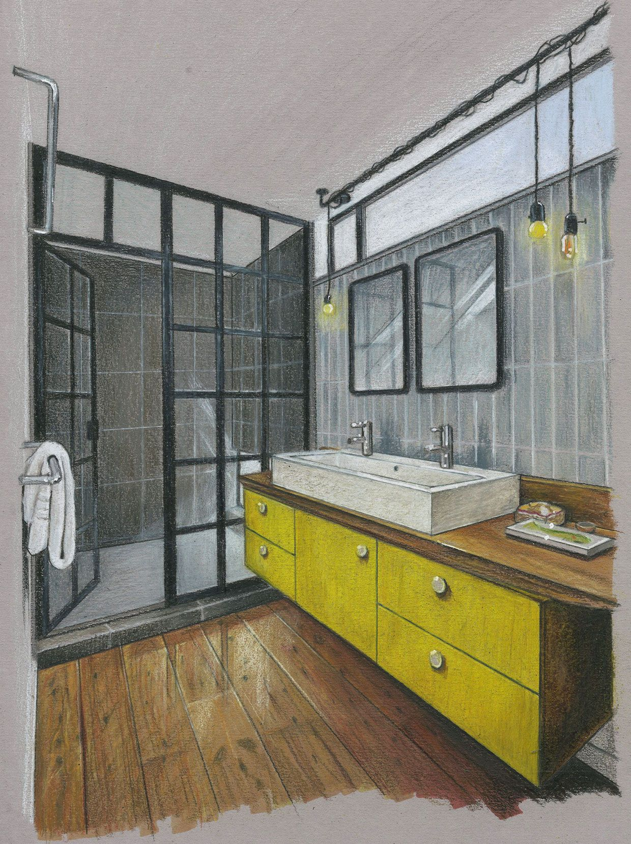 Inside House Drawing: Bathroom Rendering On SCAD Portfolios