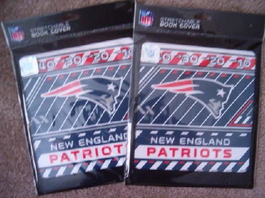 White Stretchable Book Cover : New england patriots stretchable book covers pair