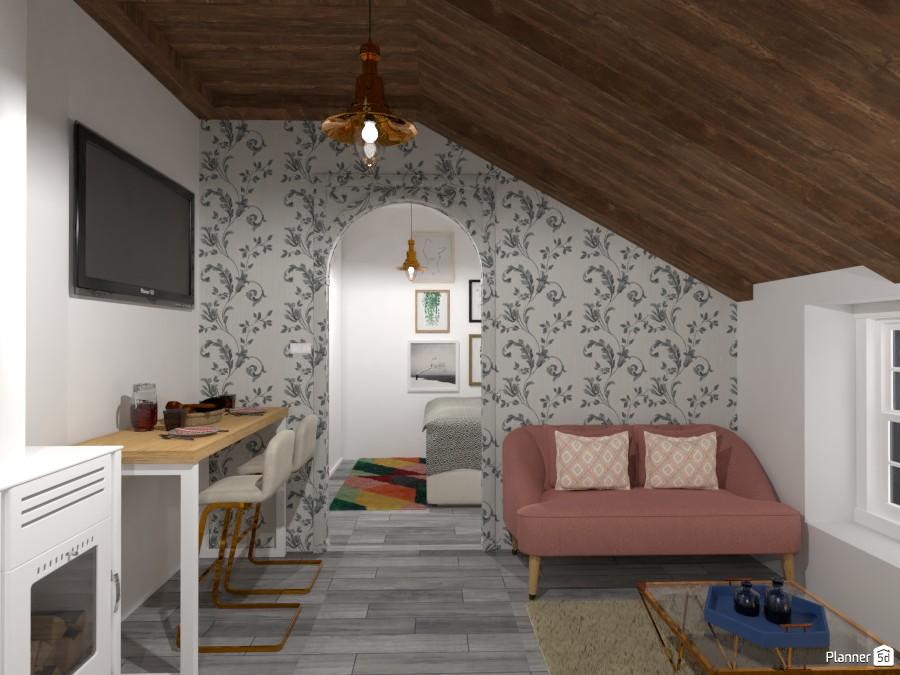 Attic Apartment Living room Free line Design