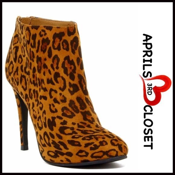 """BOOTS Leopard Heeled Faux Suede Booties 💟NEW WITH TAGS💟 RETAIL PRICE: $75  BOOTS Leopard Heeled Faux Suede Booties   * Side stretch panel goring for easy on/off  * Solid vamp  * Almond toe & 4.25"""" high stiletto heels  * Faux suede vegan leather   * 4.5"""" high shaft & 9""""opening  * True to size  Fabric: Microfiber upper & Manmade sole Color: Tan & brown Item: # pumps 🚫No Trades🚫 ✅ Offers Considered*✅ *Please use the blue 'offer' button to submit an offer. Boutique Shoes Heels"""