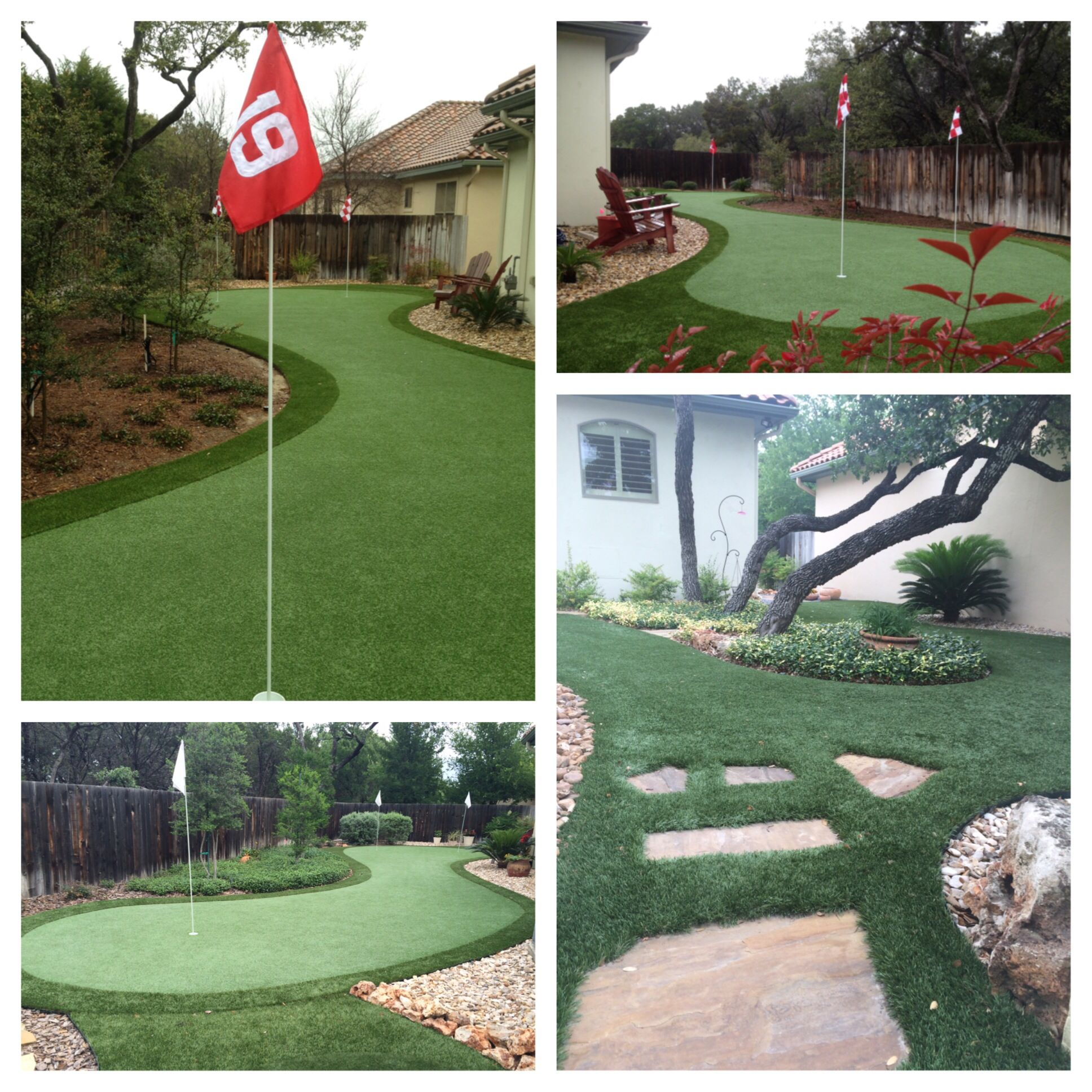 Bentley Manor synthetic putting green and artificial turf side yard