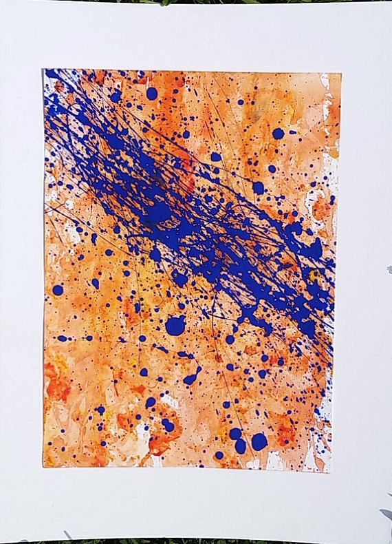 Abstract Expressionist Painting Orange and Blue by AutumnInBloom