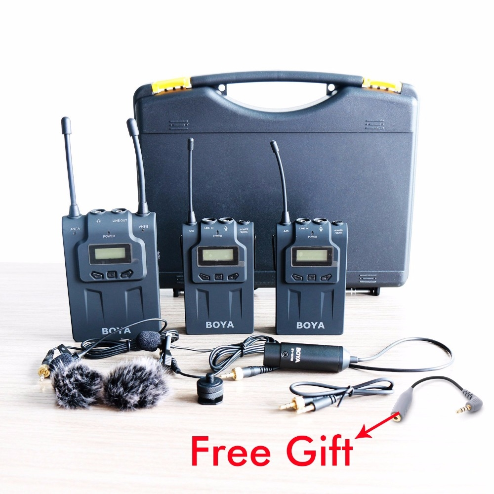 299.95$  Buy here - http://alipsc.worldwells.pw/go.php?t=32788186357 - BOYA BY-WM8 Wireless Lavalier Microphone for iPhone 7 7Plus 6 6s Plus Dual Channel Microphone System for Canon Nikon SLR Camera