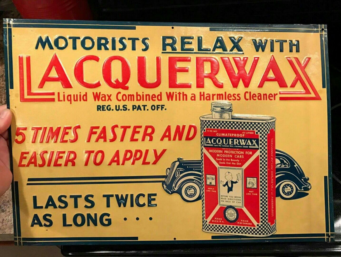 Early Original Lacquerwax Automobile Cleaner Tin Sign