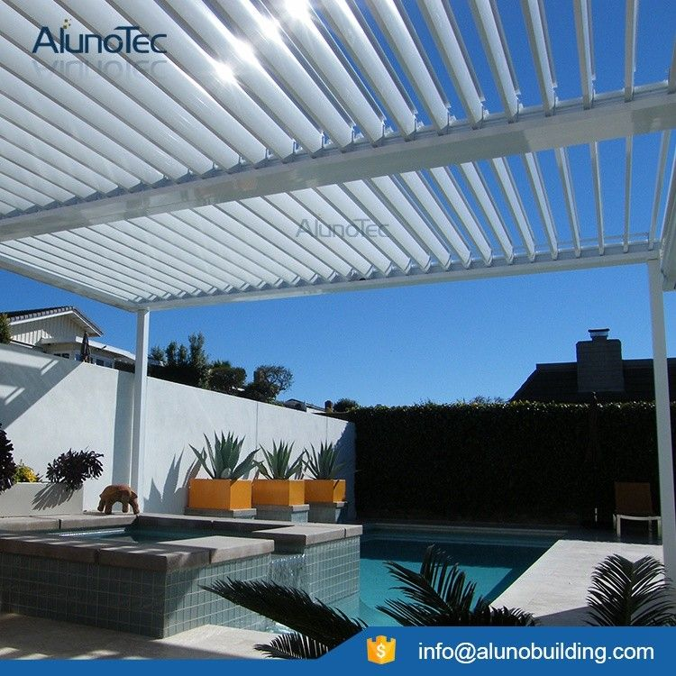Alunotec Aluminum Pergola Louvered Opening Roof System With Sun Block Blinds View Opening Roof System Aluno Product Details From Dongguan Aluno Industry Co Roofing Systems Pergola Aluminum Pergola