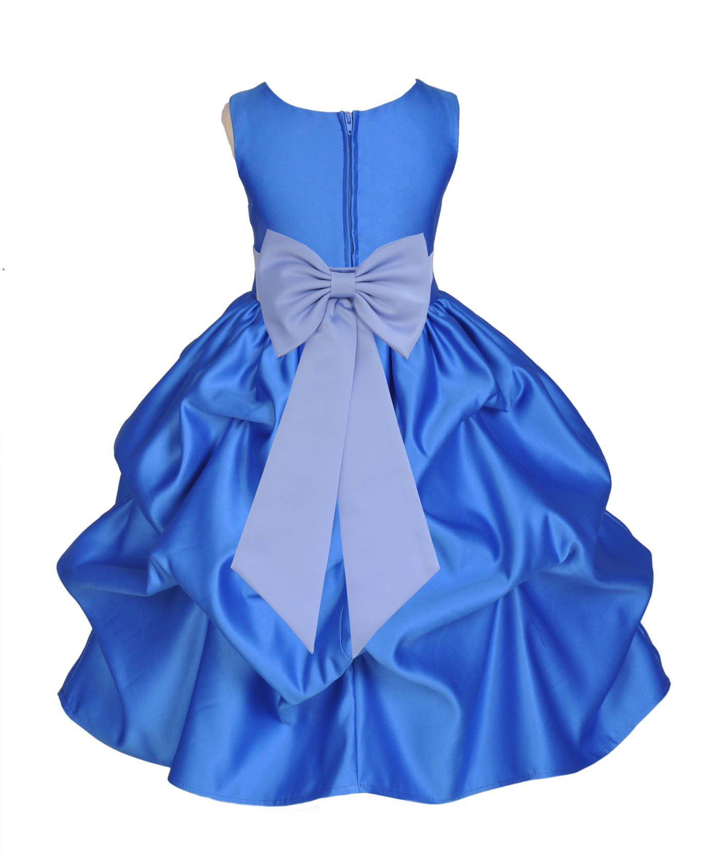 8f71b7d57b2 Royal Blue Pick-up Satin Flower Girl Dress Princess Bridesmaid Beauty  Pageant Holiday Special Occasions 208T2