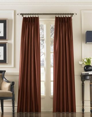 Marquee Faux Silk Pinch Pleat Drapery Curtainworks Com Pleated