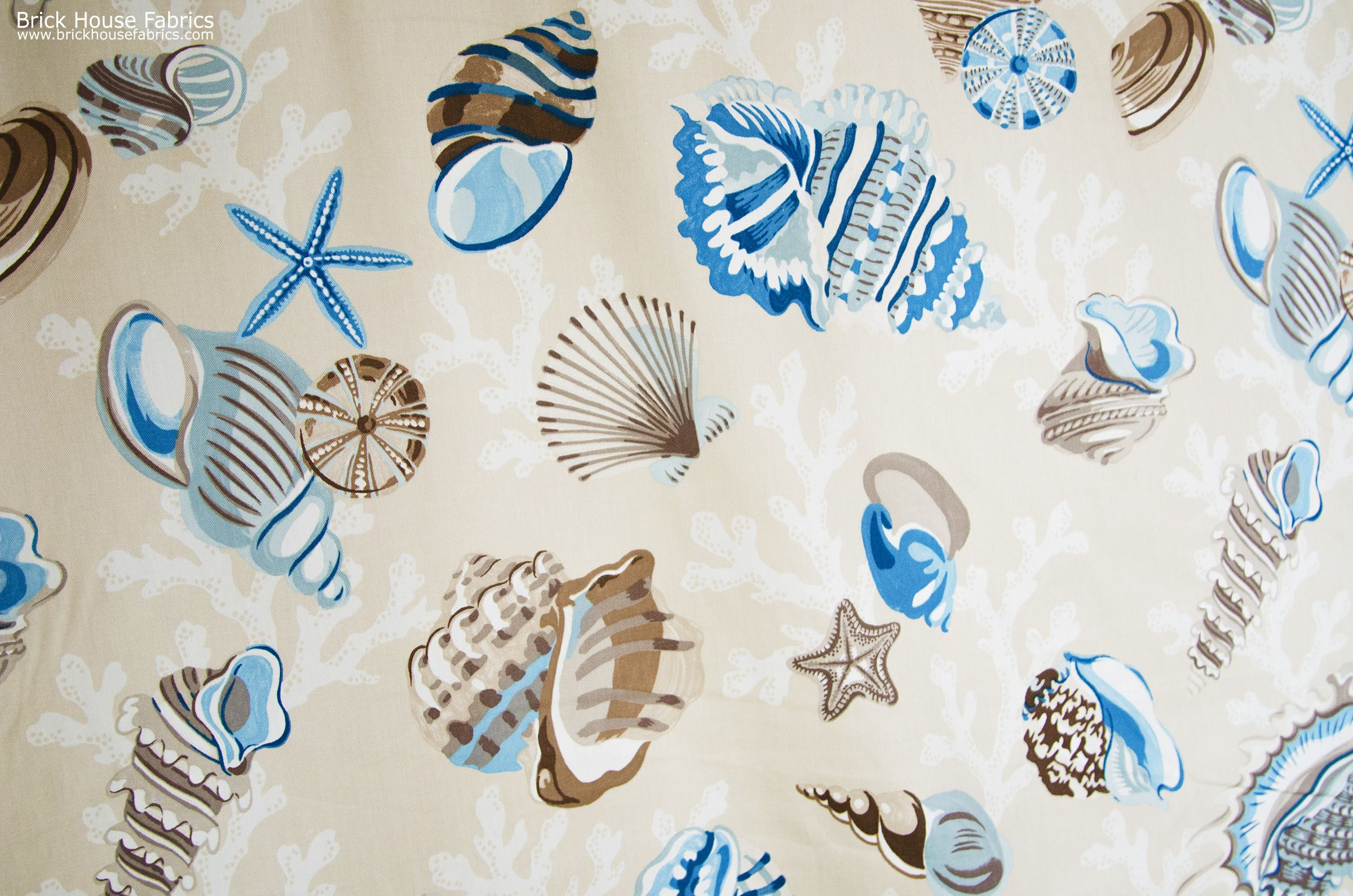 A seashell fabric with starfish, sea stars, and coral! A ...