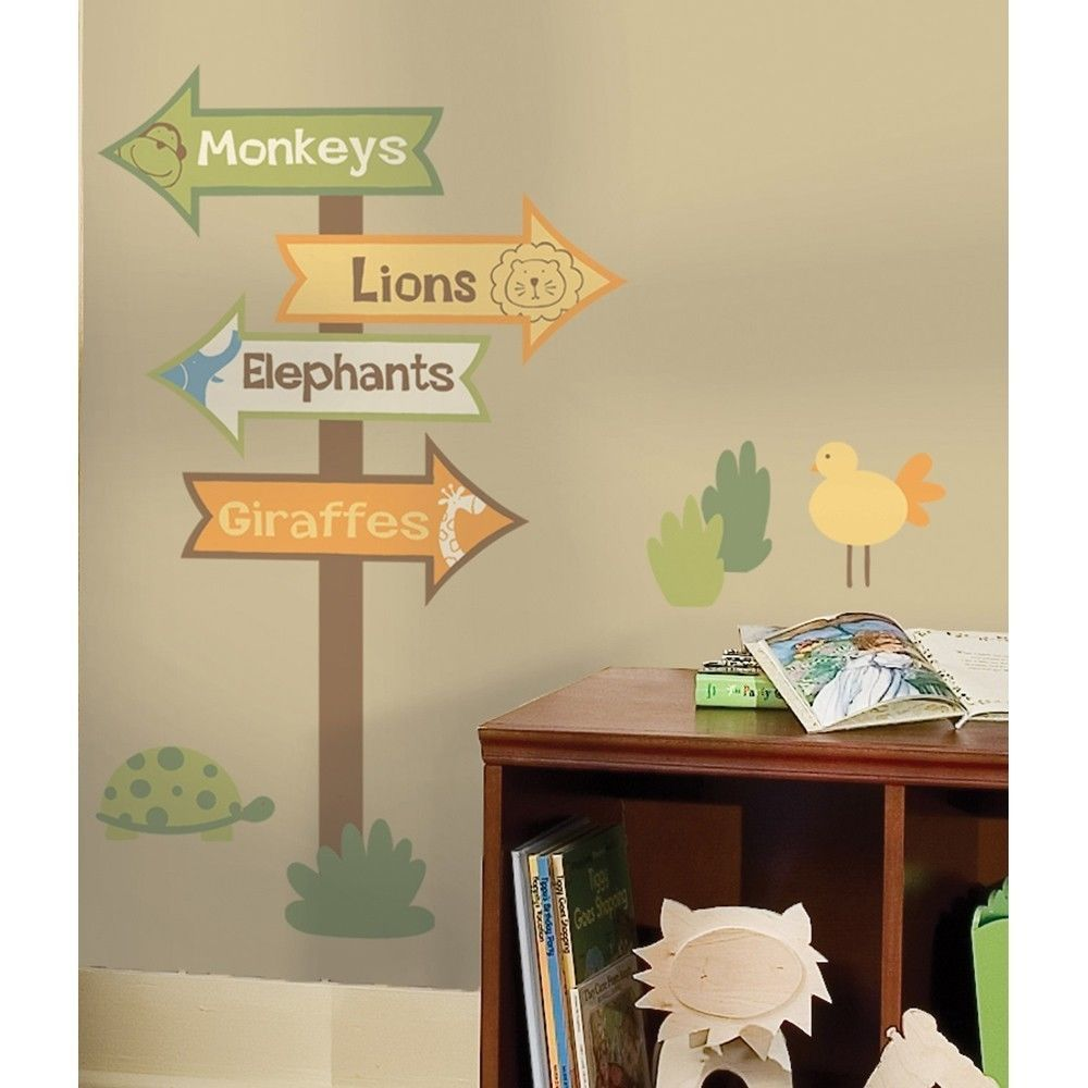 New Zoo Animals Signs Wall Stickers Kids Bedroom Green Brown Yellow Room Decals Roommates Jungle Theme Nursery Nursery Themes Zoo Nursery Theme