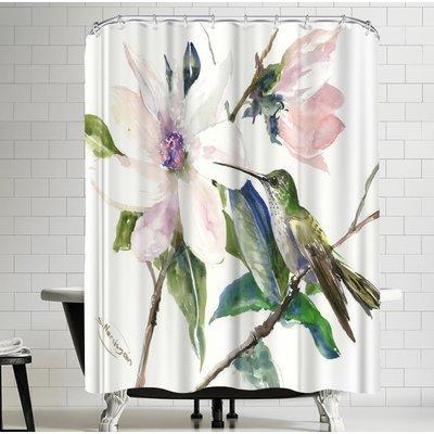 East Urban Home Suren Nersisyan Magnolia And Hummingbird I Single Shower Curtain Designer Shower Curtains Shower Curtain Curtains