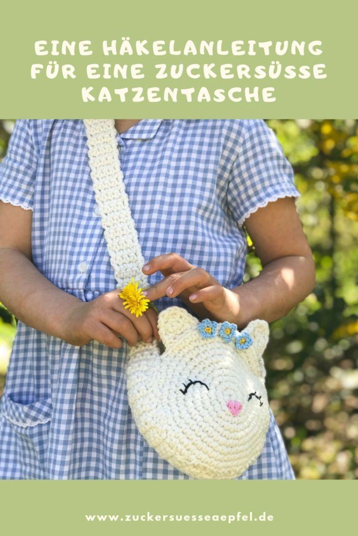 Photo of Eine zuckersüße Häkelanleitung für eine Katzentasche. Häkeln für Kinder, C…