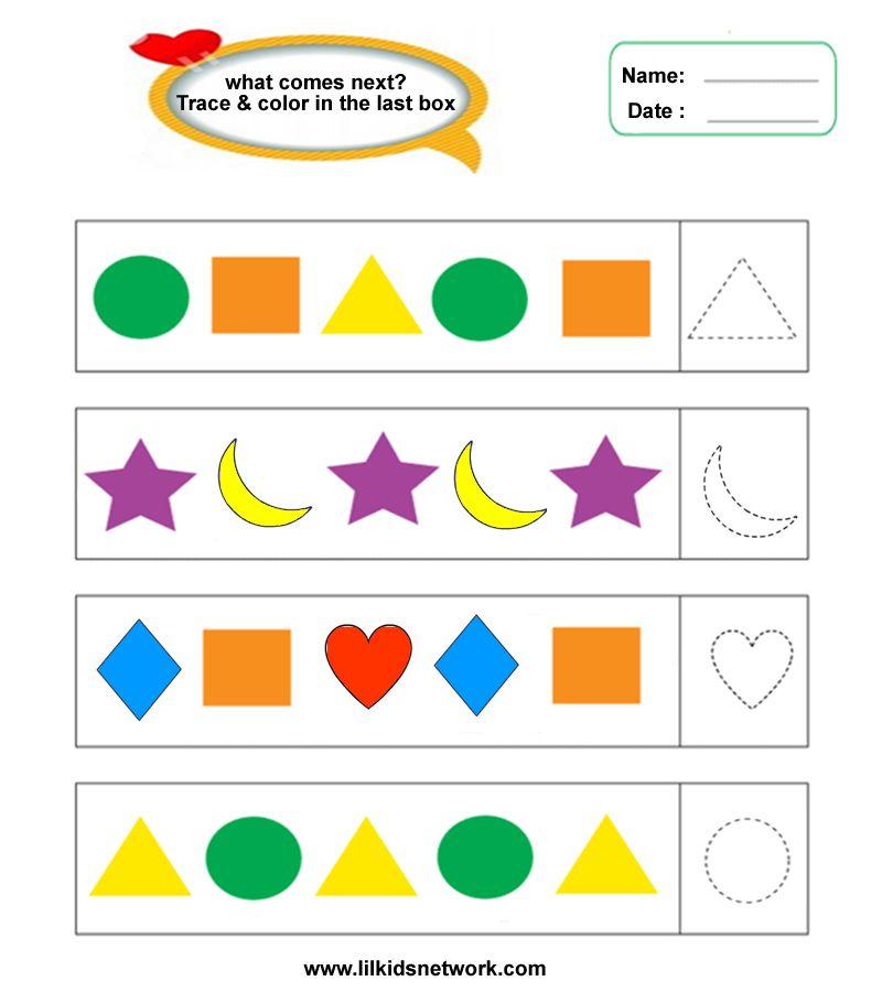 Shape Pattern Worksheet For Preschooler #O