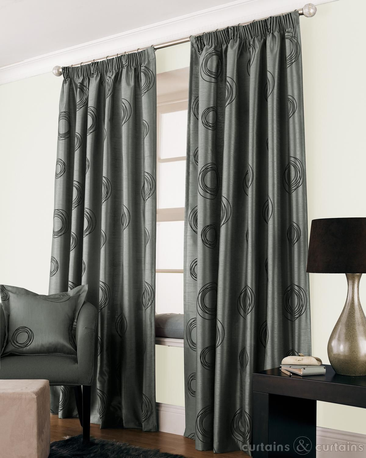 Cheap grey curtains - Silver Grey Black Faux Silk Lined Cheap Curtain